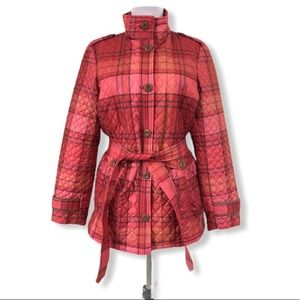 Lands' End Small 6/8 Quilted Puffer Jacket Plaid